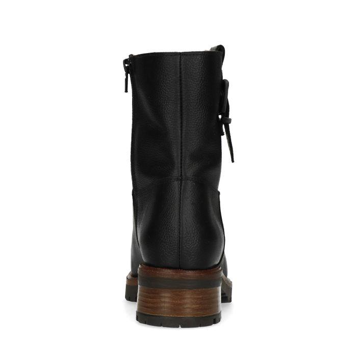 Schwarze Leder-Boots mit Schnalle