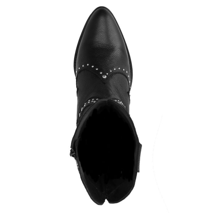 Schwarze Leder-Cowboystiefel mit Nieten
