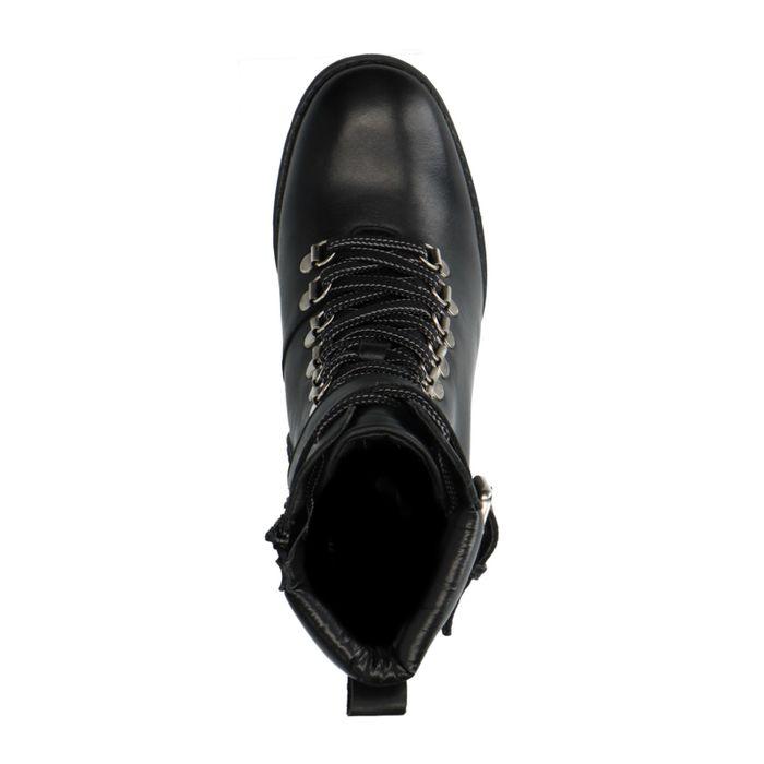 Schwarze Schnürstiefeletten mit hohem Absatz