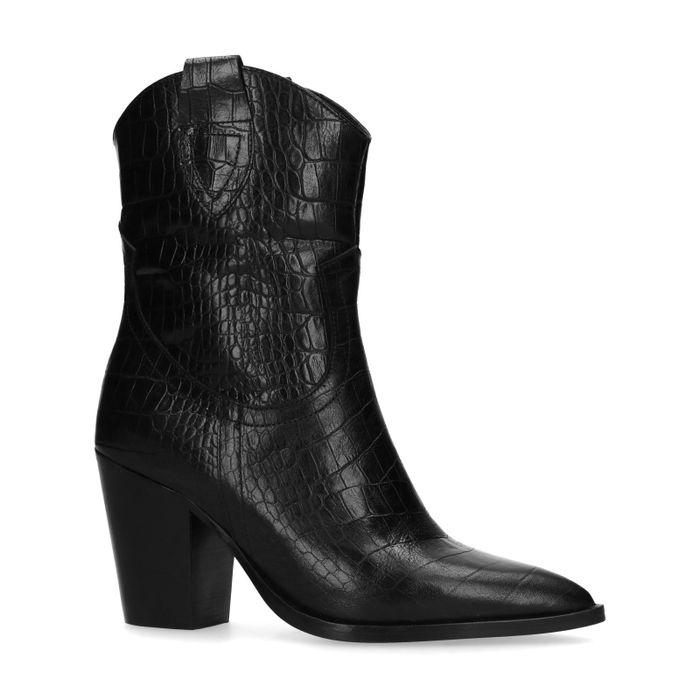 Schwarze Cowboystiefel aus Leder mit Krokomuster