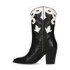 Schwarze Leder-Cowboystiefel mit weißen Details