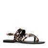 Schwarze Sandalen mit Kuhmuster