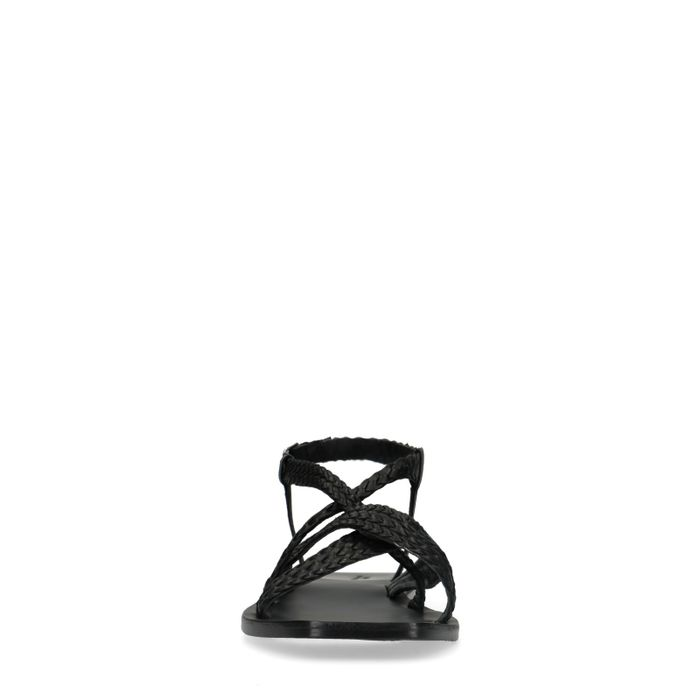 Schwarze Sandalen mit geflochtenem Riemchen