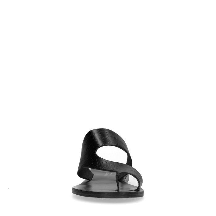 Schwarze Sandalen mit Krokomuster