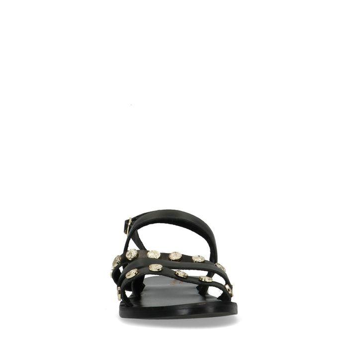 Schwarze Sandalen mit Münzen