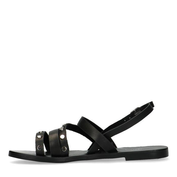 Schwarze Sandalen mit Nieten