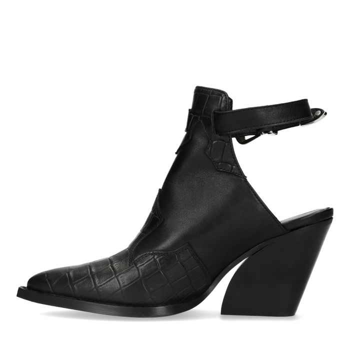 Schwarze Leder-Stiefeletten mit offener Ferse