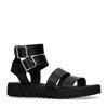 Schwarze Sandalen mit doppelter Schnalle