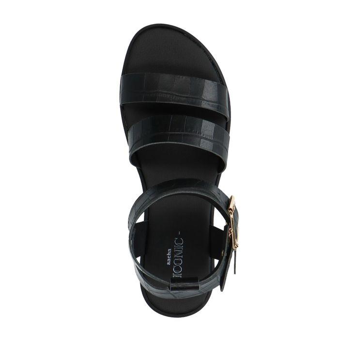 Schwarze Kroko-Sandalen mit Plateausohle