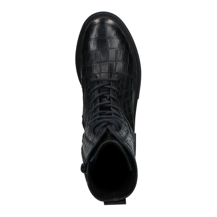 Schwarze Schnürstiefeletten mit Krokomuster