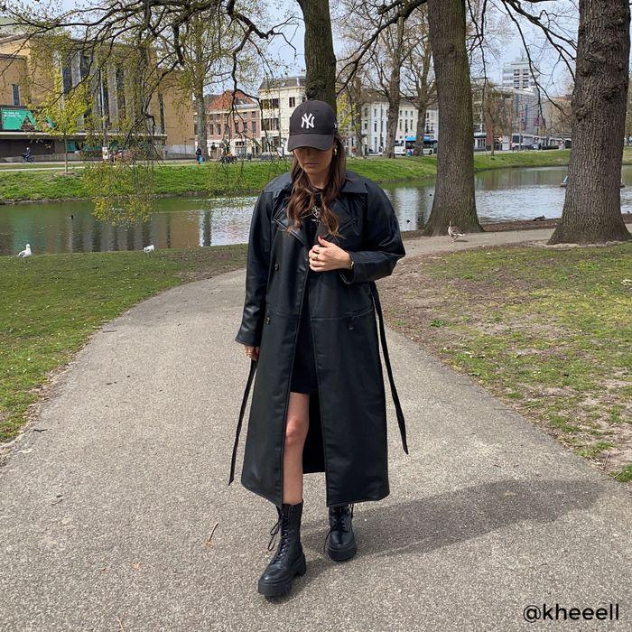 Schwarze Schnürboots aus Leder