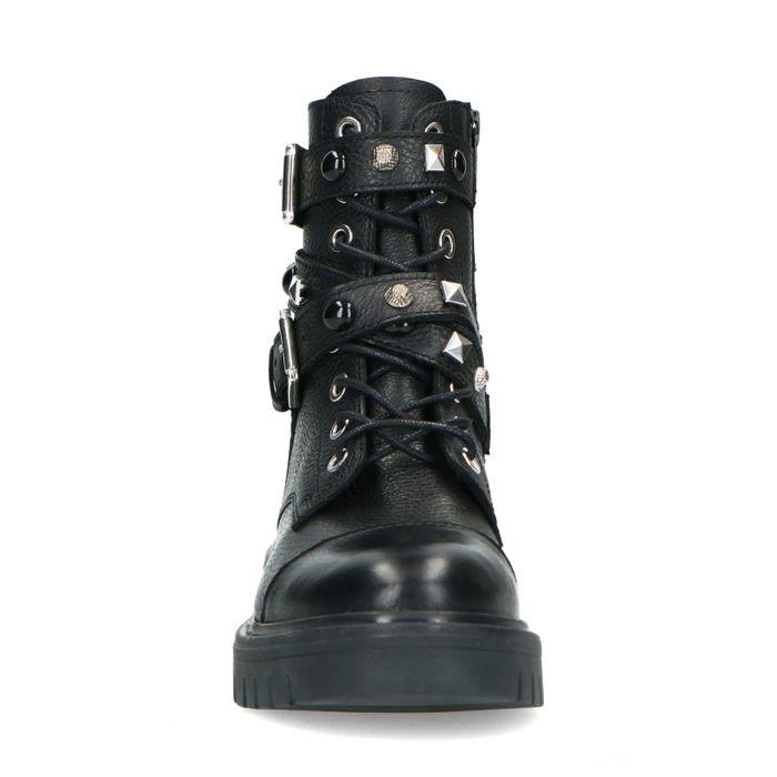 Schwarze Leder-Schnürstiefeletten mit Details