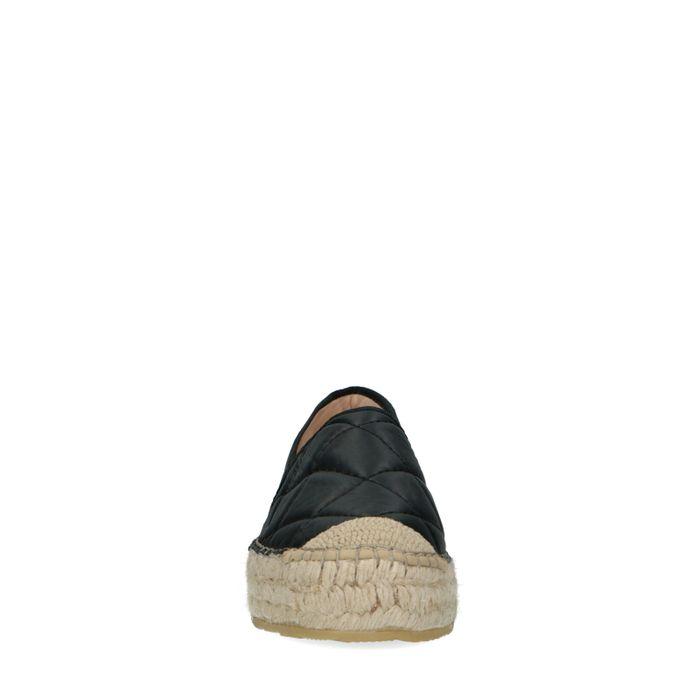 Schwarze Leder-Espadrilles mit Karomuster