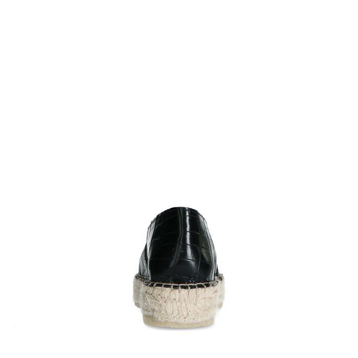 Schwarze Leder-Espadrilles mit Krokomuster