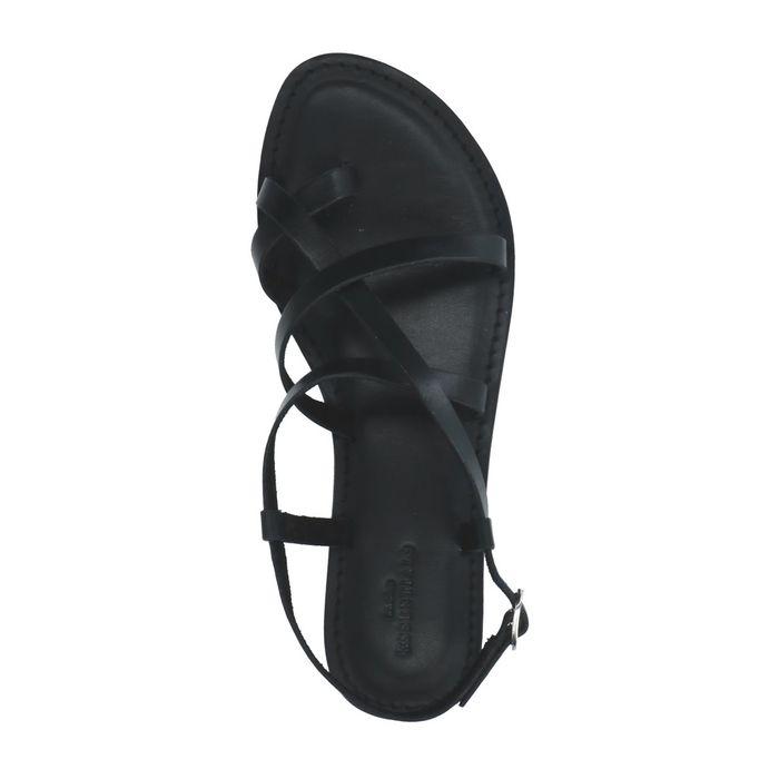 Schwarze Ledersandalen mit gekreuzten Riemchen