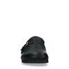 Schwarze Leder-Pantoffeln mit Schnalle