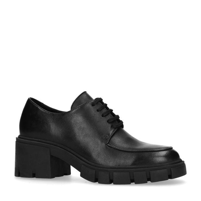 Schwarze Leder-Schnürschuhe mit Plateausohle