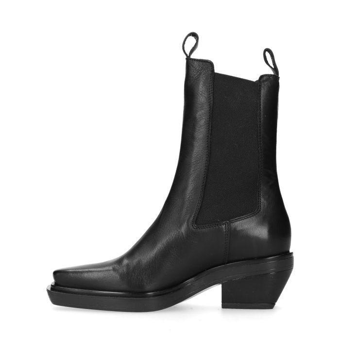 Eckige schwarze Chelsea Boots aus Leder