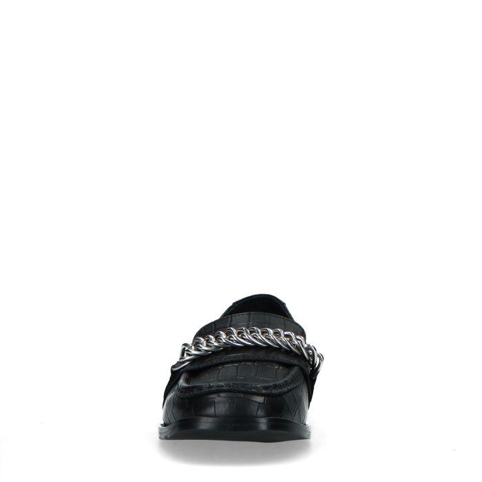 Schwarze Leder-Loafer mit Krokomuster