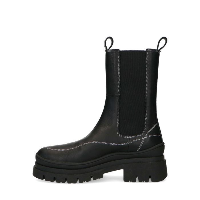 Schwarze Chelsea Boots mit weißen Nähten