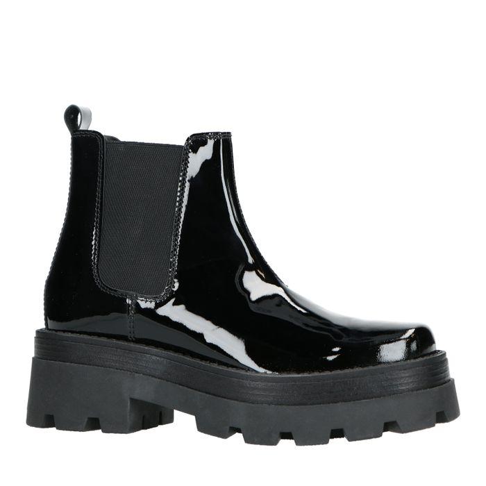 Schwarze Chelsea Boots aus Lackleder