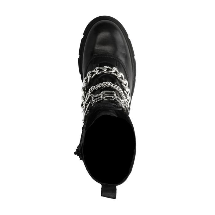 Schwarze Biker Boots mit Kette