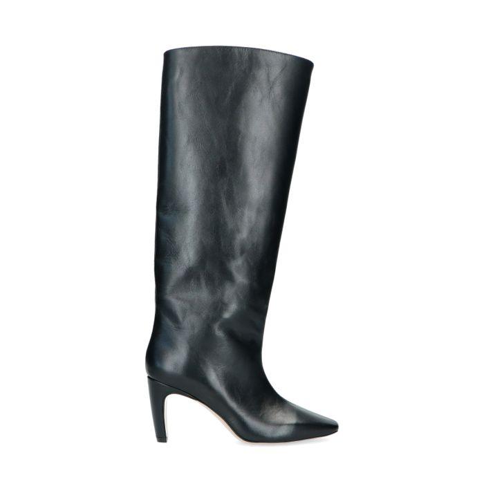 Schwarze Absatz-Stiefel mit hohem Schaft