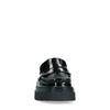 Schwarze Lack-Loafer mit Plateausohle