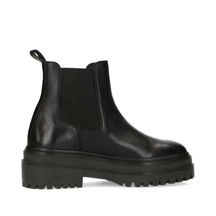 Kurze schwarze Chelsea Boots aus Leder