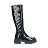 Schwarze Stiefel mit Plateausohle und hohem Schaft