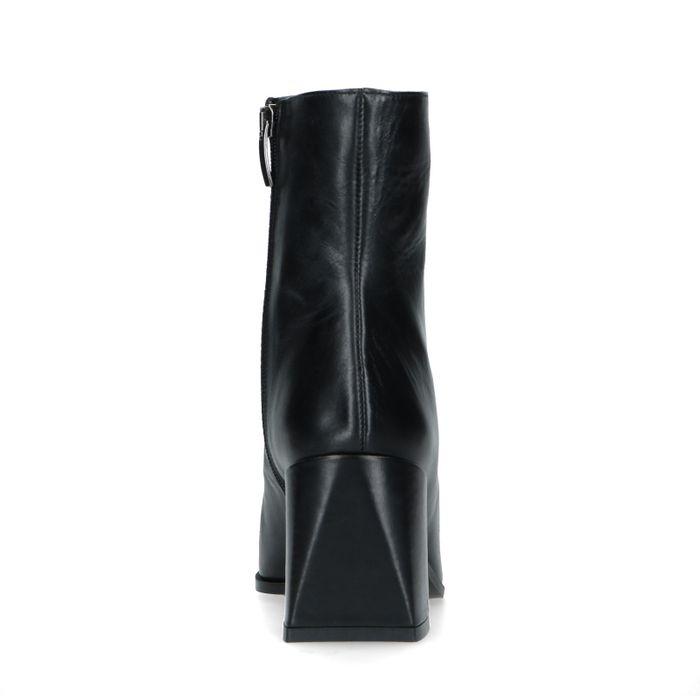 Schwarze Stiefeletten mit Blockabsatz und camelbraunem Streifen