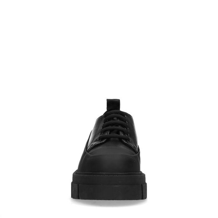 Schwarze Lederschnürschuhe mit Plateausohle