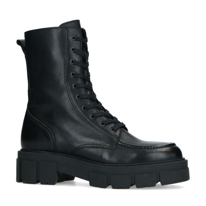 Schwarze Leder-Schnürstiefeletten