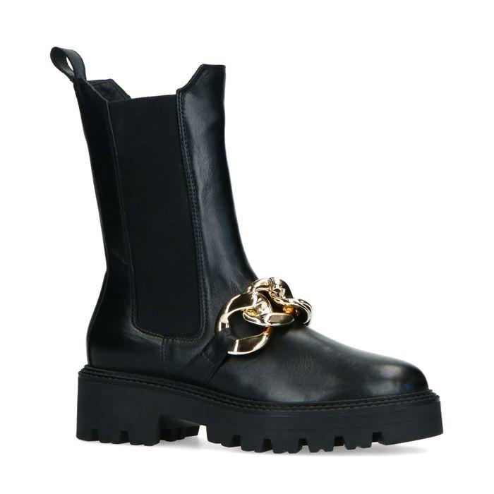 Schwarze Chelsea Boots mit goldener Kette