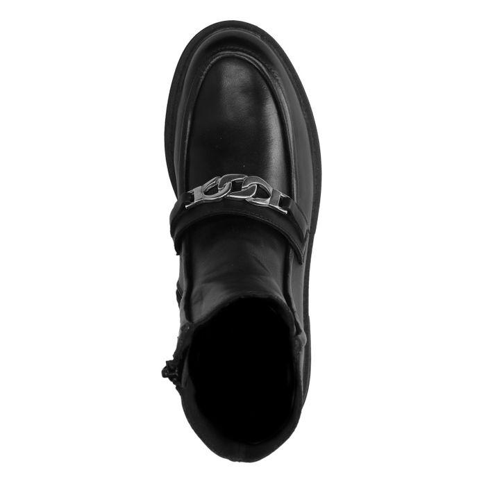 Schwarze Lederstiefeletten mit Ketten-Detail