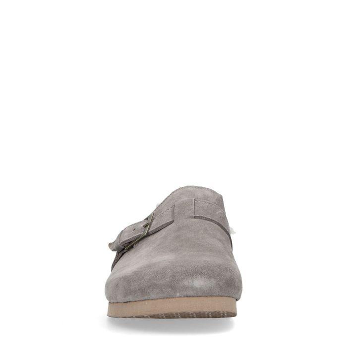 Taupefarbene Leder-Pantoffeln mit Schnalle