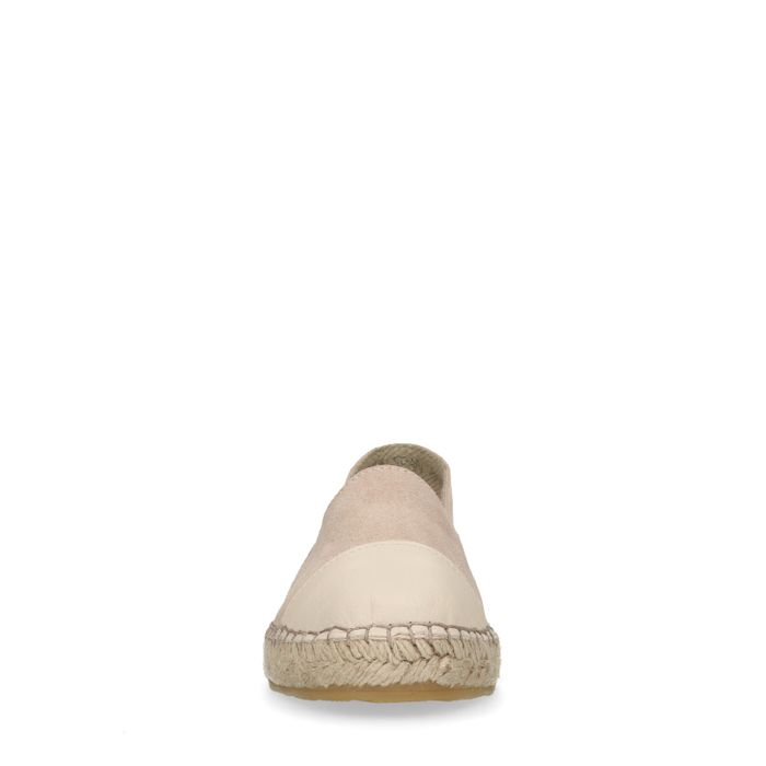 Beigefarbene Veloursleder-Espadrilles mit Leder-Detail