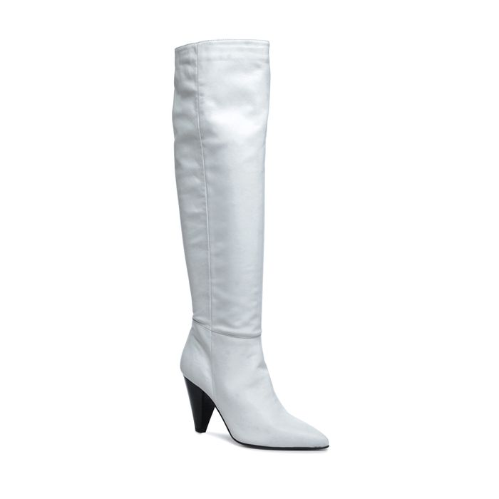 Weiße Leder-Overknees mit Absatz