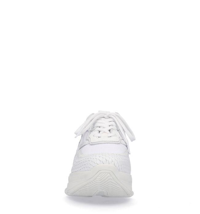 Weiße Dad-Sneaker mit Schlangenmuster