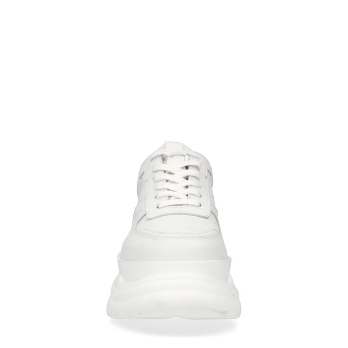 Weiße Leder-Sneaker mit chunky Sohle
