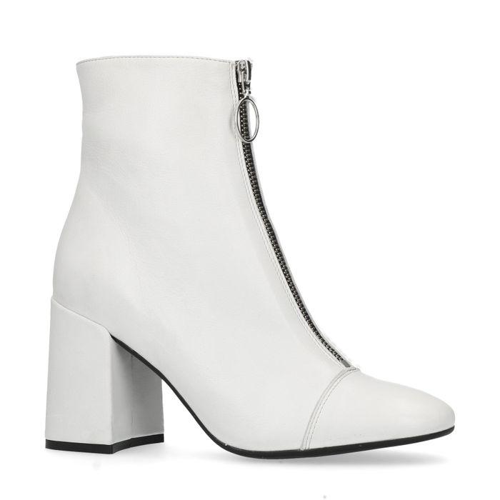 Weiße Leder-Stiefeletten mit Absatz