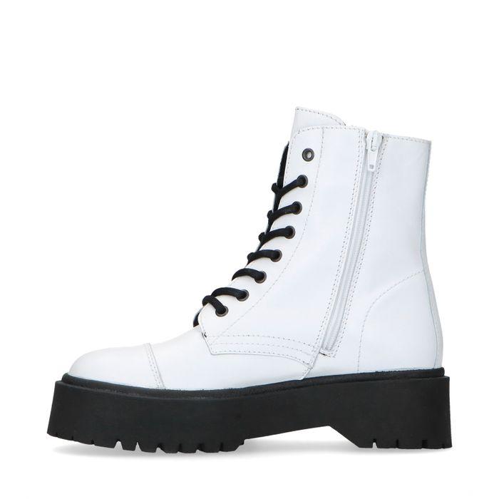 Weiße Plateau-Biker-Stiefel