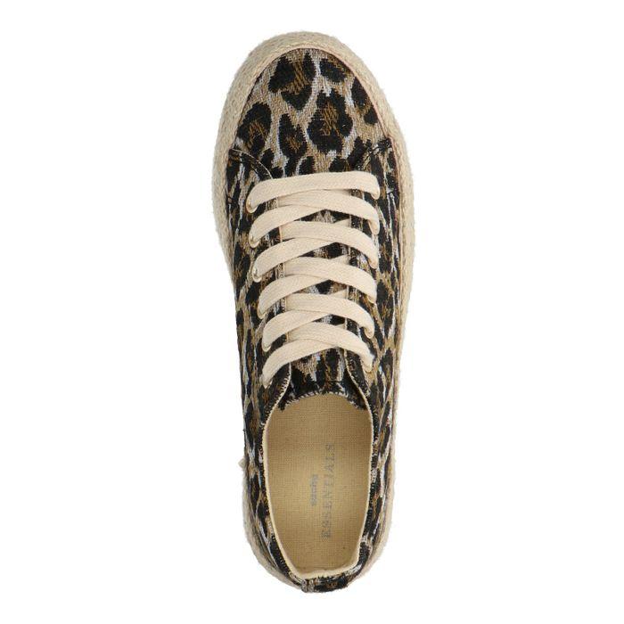 Plateausneaker aus Leinen mit Leopardenmuster