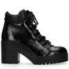 Schwarze Lack-Stiefeletten mit Blockabsatz