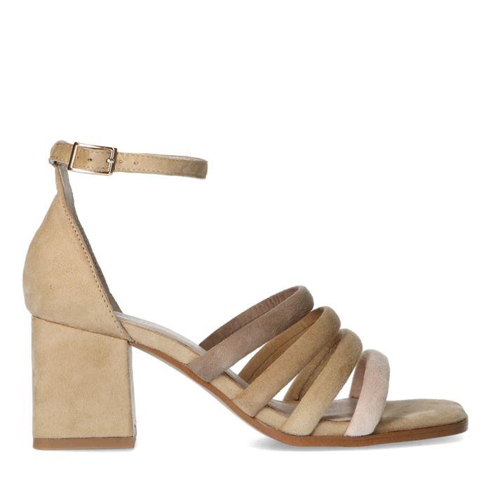 Beigefarbene Sandaletten mit farbigen Riemchen