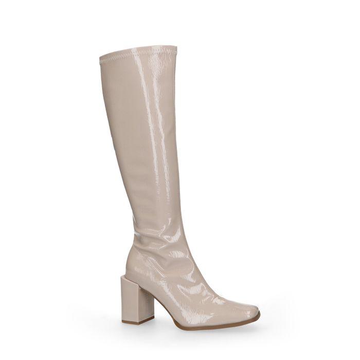 Beigefarbene Stiefel mit Absatz und hohem Schaft