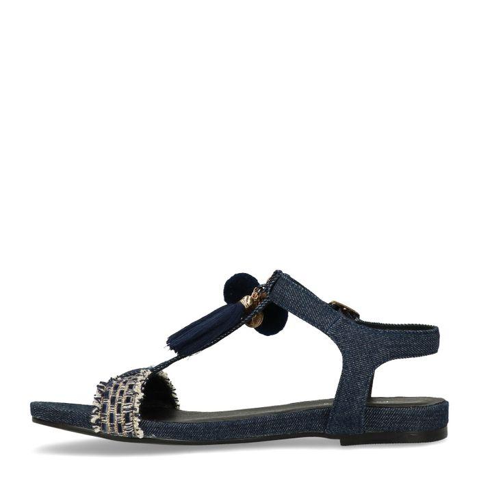 Denim-Sandalen mit Fransen