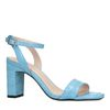 Blaue Sandaletten mit Krokomuster