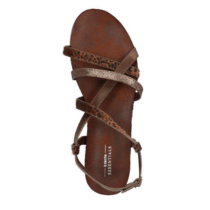 Braune Sandalen mit gekreuzten Riemchen