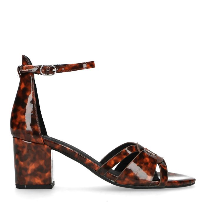 Lack-Sandaletten mit Print